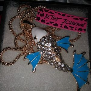 Jewelry - Betsey Johnson Blue Fish Necklace Crystal